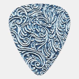 Ocean Blue White Carved Stone Look Coastal Plectrum