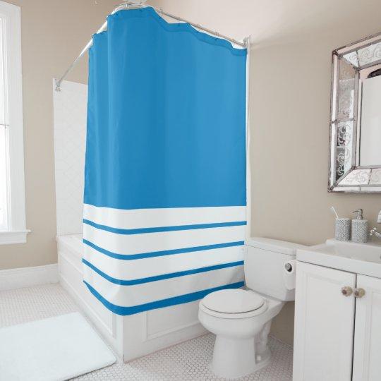 Ocean Blue with White Stripes at Bottom Shower