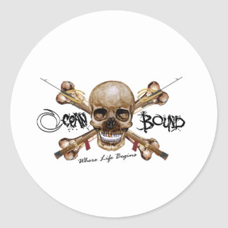 OCEAN BOUND SKULL - CROSS BONES DESIGN ROUND STICKER