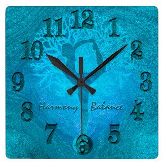 Ocean Breeze Yoga Yin Yang Square Wall Clock
