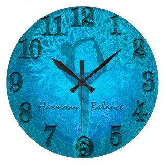 Ocean Breeze Yoga Yin Yang Tree Large Clock