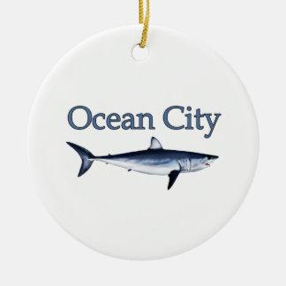 Ocean City Maryland Logo (mako shark) Round Ceramic Decoration