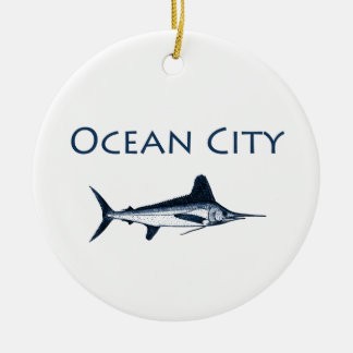 Ocean City Maryland Logo (white marlin) Christmas Ornament