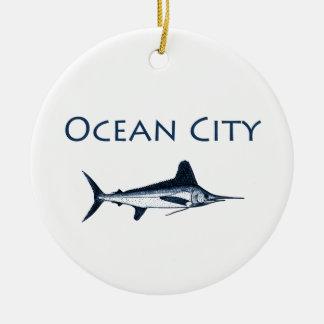 Ocean City Maryland Logo (white marlin) Round Ceramic Decoration