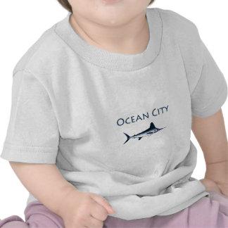 Ocean City Maryland Logo (white marlin) Tee Shirts