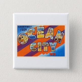 Ocean City Maryland MD Vintage Travel Postcard- 15 Cm Square Badge