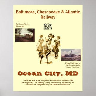 Ocean City Maryland, Vintage travel Poster
