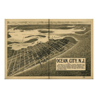 Ocean City New Jersey 1903 Antique Panoramic Map Poster