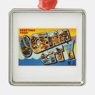 Ocean City New Jersey NJ Vintage Travel Postcard- Christmas Ornament