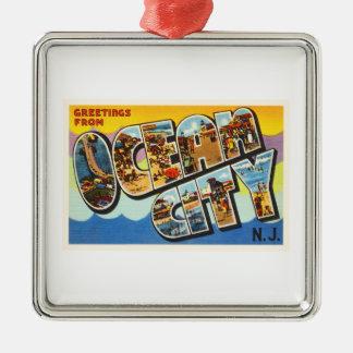 Ocean City New Jersey NJ Vintage Travel Postcard- Silver-Colored Square Decoration