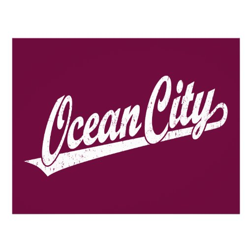 Ocean City script logo in white distressed Flyers
