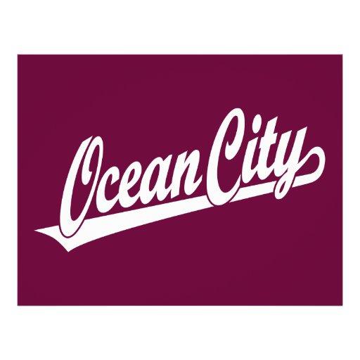 Ocean City script logo in white Flyer Design