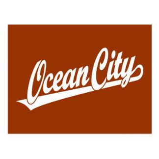 Ocean City script logo in white Postcard
