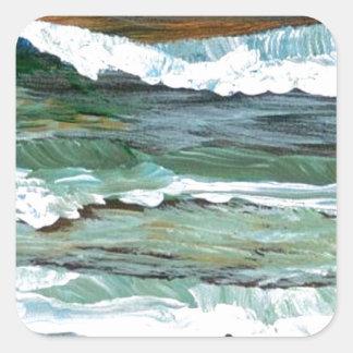 Ocean Comfort Beach Waves Surf Art Decor Gifts Square Sticker