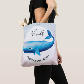 Ocean Conservation Ombre Marine Whale Typography Tote Bag