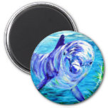 Ocean Dolphins Painting Dolphin Underwater Picture 6 Cm Round Magnet