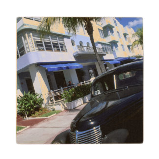 Ocean Drive, Miami Beach Florida Wood Coaster