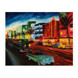 Ocean Drive Miami With Mint Cadillac Postcard