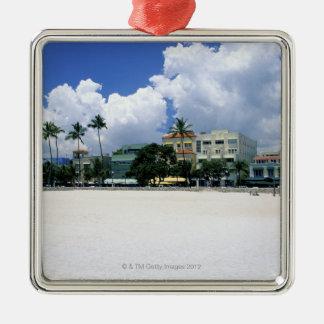 Ocean Drive, South Miam Beach, Miami - Florida Silver-Colored Square Decoration