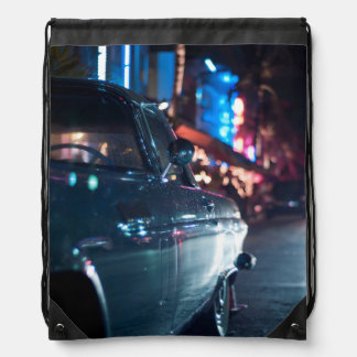 Ocean Drive vintage car Drawstring Bag