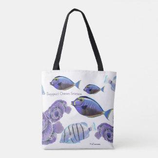 Ocean fish and coral original painting tote bag