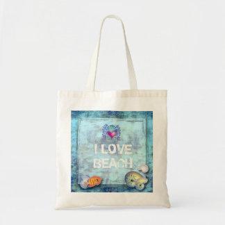ocean fish seashells island tropical wedding budget tote bag
