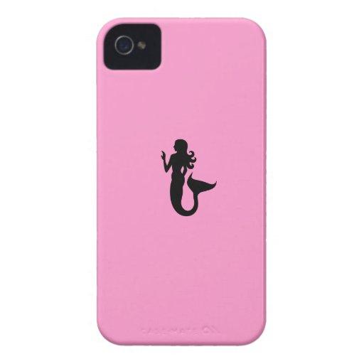 Ocean Glow_Black-on-Pink Mermaid Blackberry Bold Cases
