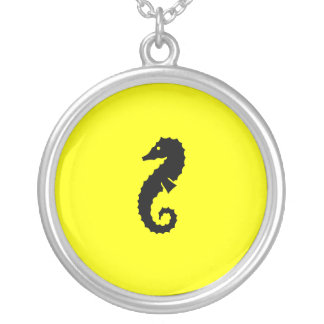 Ocean Glow_Black-on-Yellow Seahorse charm pendant