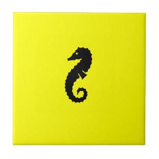 Ocean Glow_Black-on-Yellow Seahorse Tile