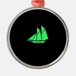 Ocean Glow_Green-on-Black Clipper Ship Christmas Ornament