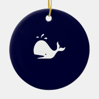Ocean Glow_White-on-Blue Whale necklace Christmas Ornament