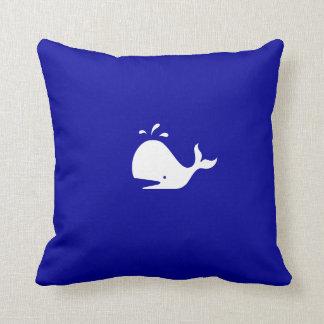 Ocean Glow_White-on-Blue Whale Throw Pillow