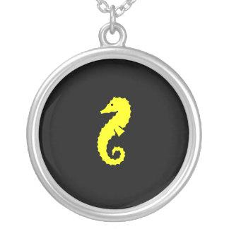 Ocean Glow_Yellow-on-Black Seahorse charm pendant