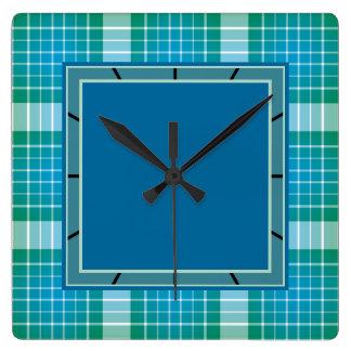 Ocean Grid Plaid Square Wall Clock