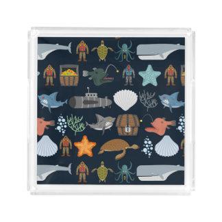 Ocean Inhabitants Pattern 1 Acrylic Tray