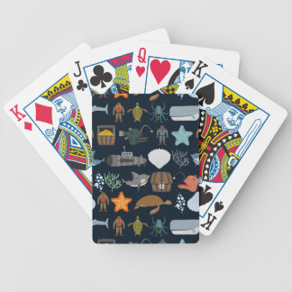Ocean Inhabitants Pattern 1 Bicycle Playing Cards