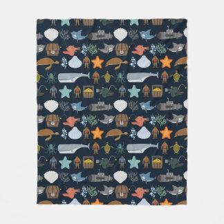 Ocean Inhabitants Pattern 1 Fleece Blanket