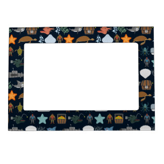 Ocean Inhabitants Pattern 1 Magnetic Frame