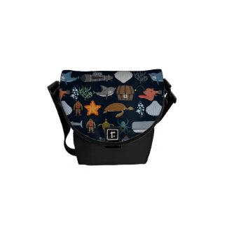 Ocean Inhabitants Pattern 1 Messenger Bags