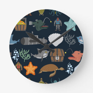 Ocean Inhabitants Pattern 1 Round Clock