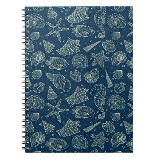 Ocean Inhabitants Pattern 2 Spiral Note Books