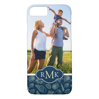 Ocean Inhabitants Pattern| Your Photo & Monogram iPhone 8/7 Case