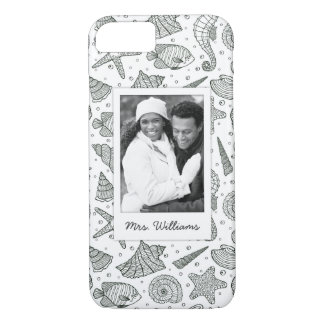 Ocean Inhabitants Pattern | Your Photo & Name iPhone 8/7 Case