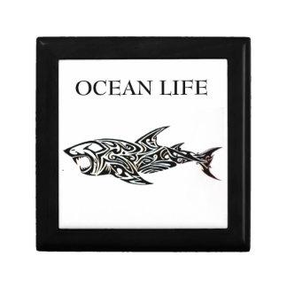 ocean life shark small square gift box