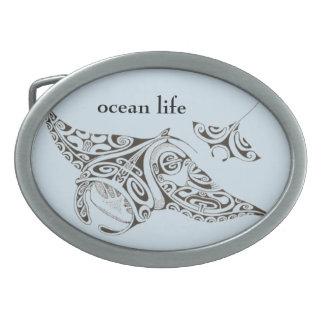 ocean life twin rays manta-rays belt buckles