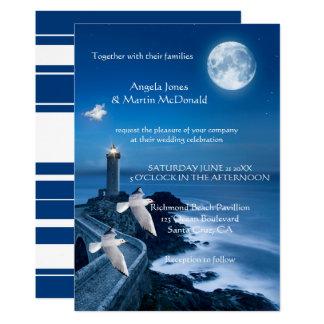 Ocean Lighthouse Nautical Wedding Invitation
