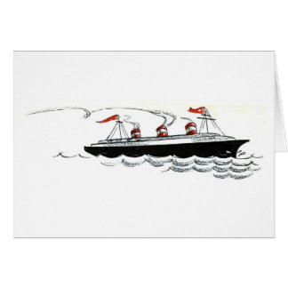 Ocean Liner at Sea Line Drawing Greeting Card