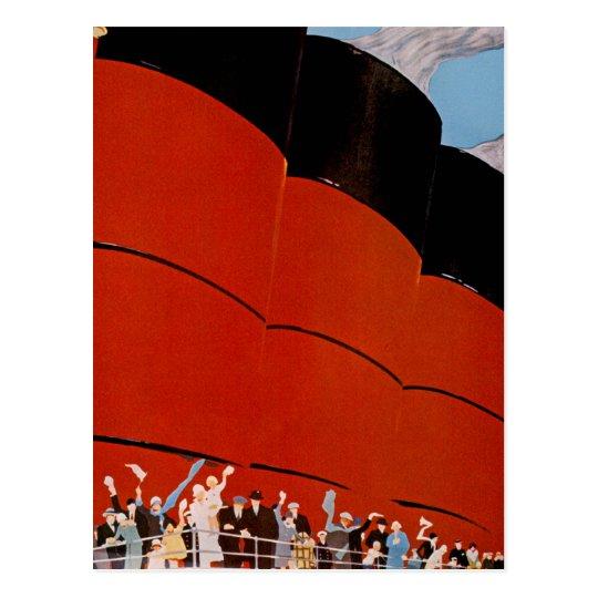 Ocean Liner Bon Voyage Postcard