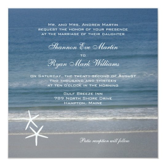 Ocean Love Square Wedding Invitation
