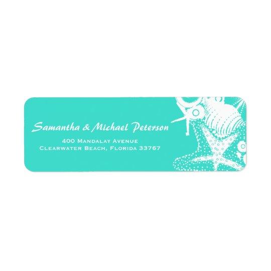 Ocean Love Teal Artsy Seashells Beach Wedding Return Address Label